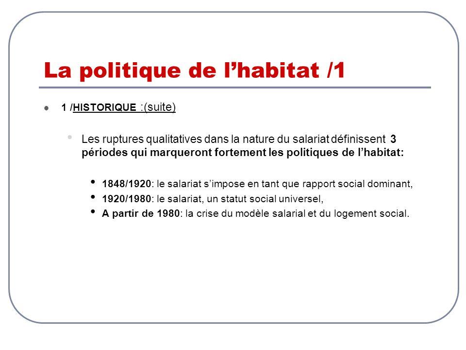 La politique de lhabitat /1 1 /HISTORIQUE :(suite) Les ruptures qualitatives dans la nature du salariat définissent 3 périodes qui marqueront fortemen