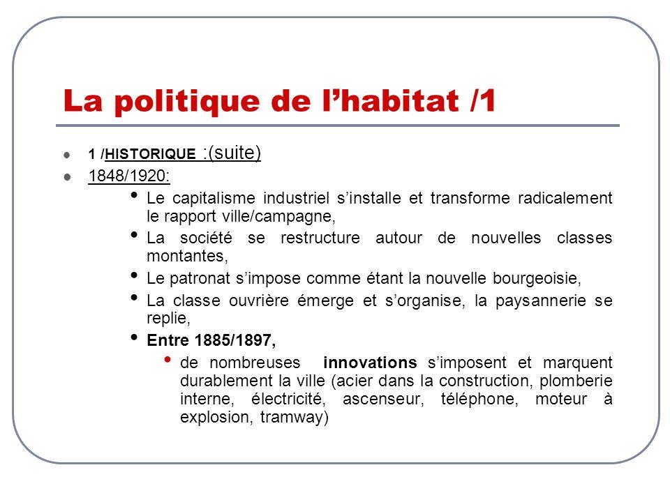 La politique de lhabitat /1 1 /HISTORIQUE :(suite) 1848/1920: Le capitalisme industriel sinstalle et transforme radicalement le rapport ville/campagne