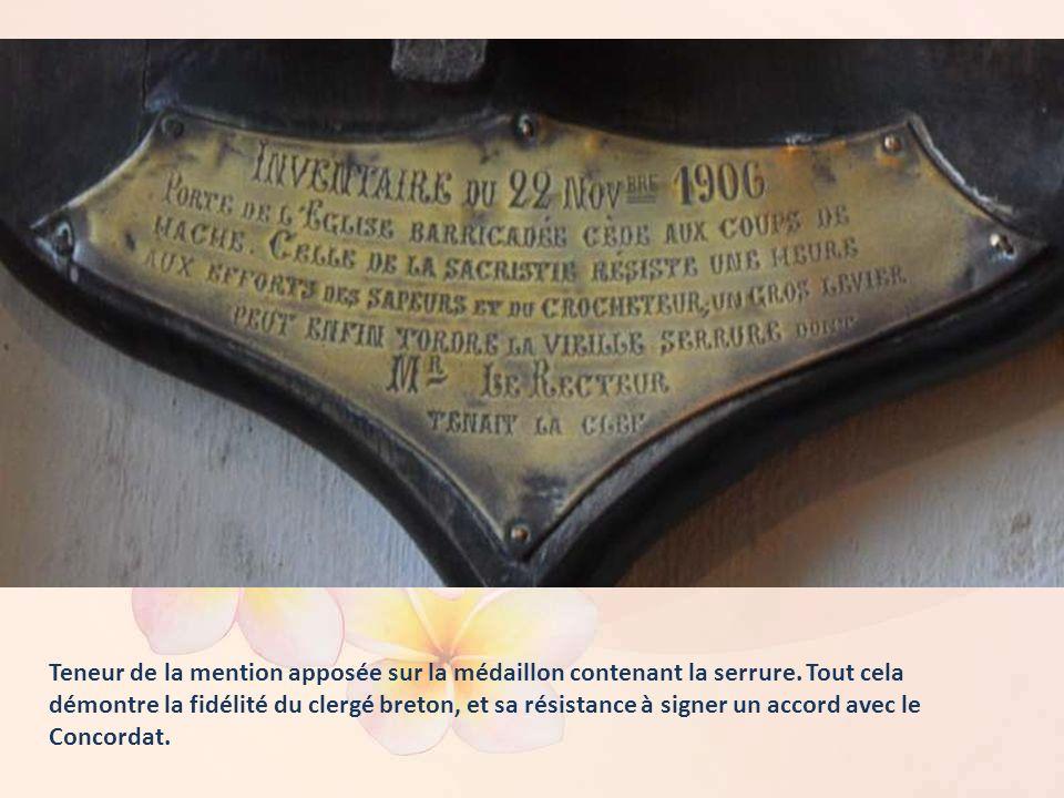Il s'agit de la serrure de la sacristie de l'église Saint-Derrien à Com- mana. Le recteur ayant refusé de céder sa clef, cette serrure a été forcée lo
