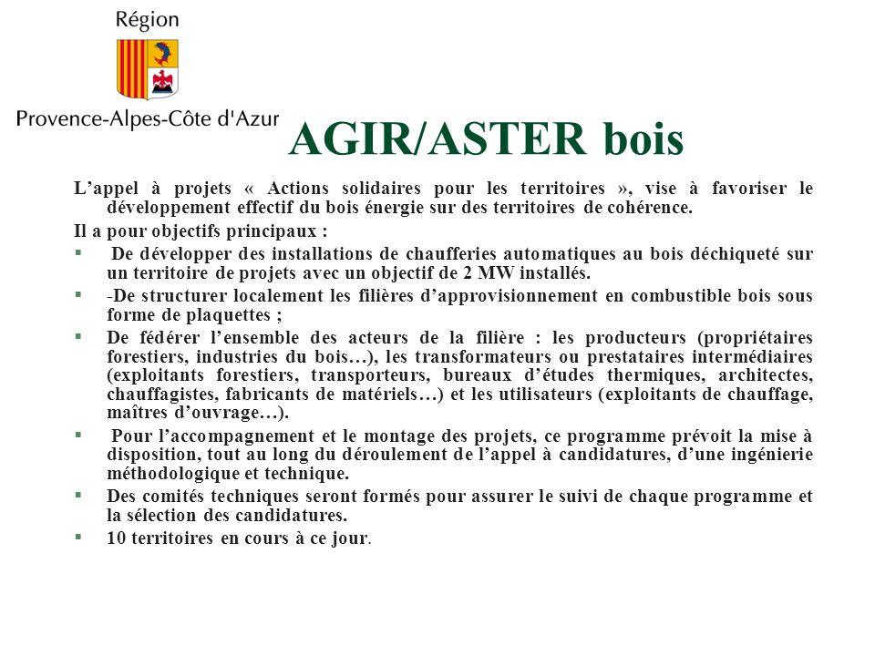 AGIR/ASTER bois Lappel à projets « Actions solidaires pour les territoires », vise à favoriser le développement effectif du bois énergie sur des territoires de cohérence.