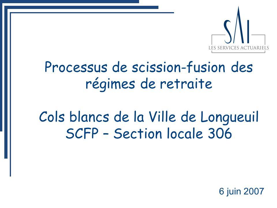 Processus de scission-fusion des régimes de retraite Cols blancs de la Ville de Longueuil SCFP – Section locale 306 6 juin 2007