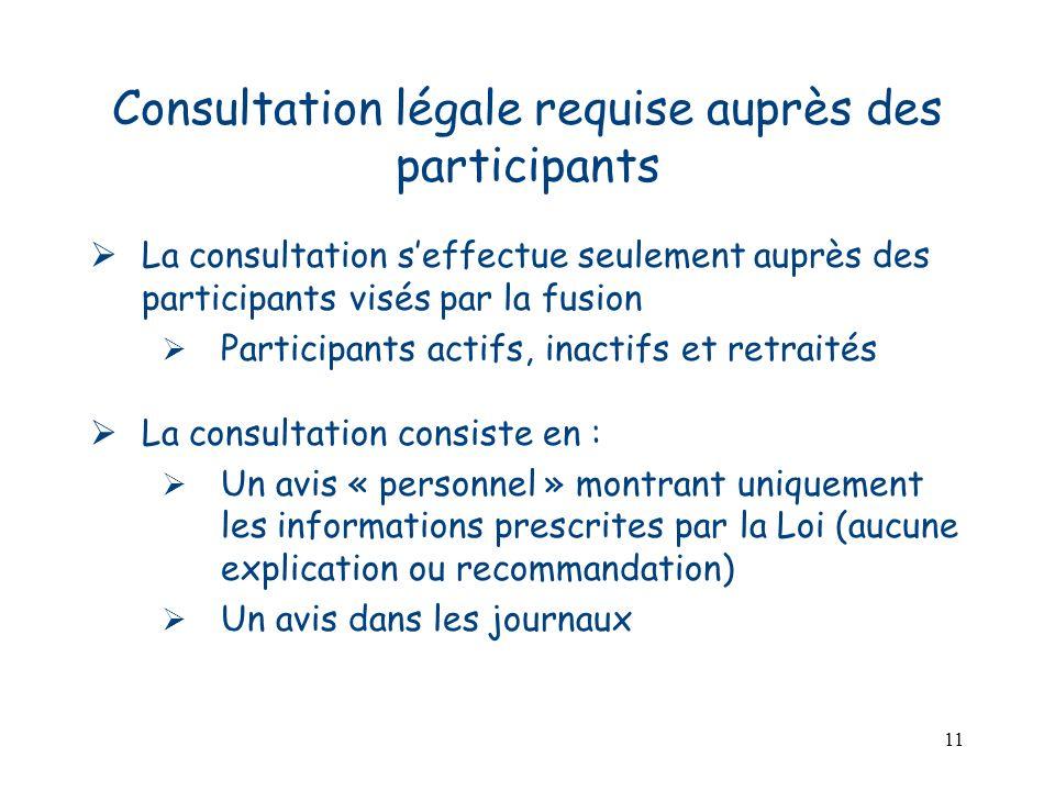 11 Consultation légale requise auprès des participants La consultation seffectue seulement auprès des participants visés par la fusion Participants ac