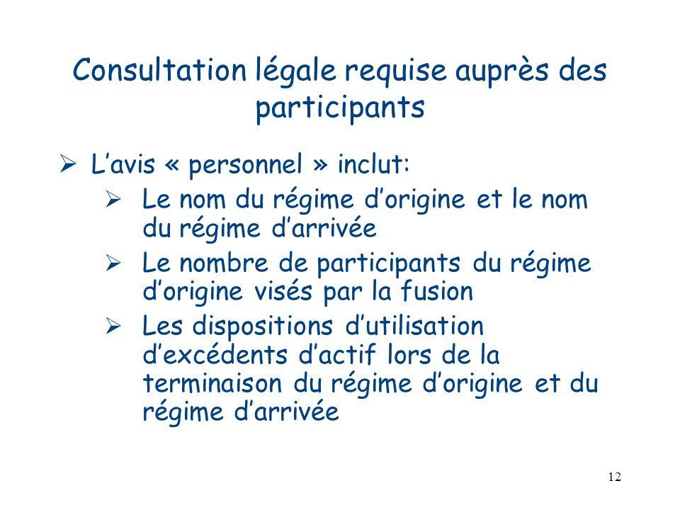12 Consultation légale requise auprès des participants Lavis « personnel » inclut: Le nom du régime dorigine et le nom du régime darrivée Le nombre de