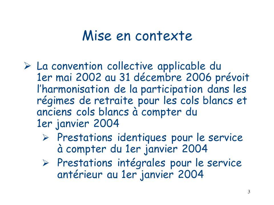 3 Mise en contexte La convention collective applicable du 1er mai 2002 au 31 décembre 2006 prévoit lharmonisation de la participation dans les régimes