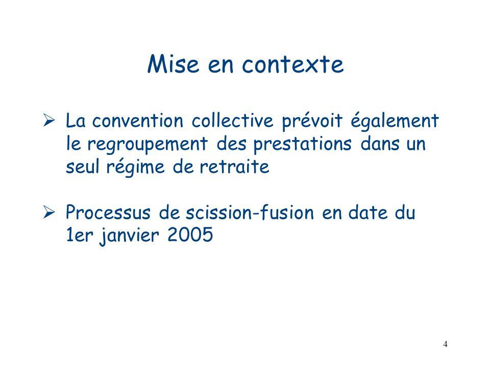 4 Mise en contexte La convention collective prévoit également le regroupement des prestations dans un seul régime de retraite Processus de scission-fu