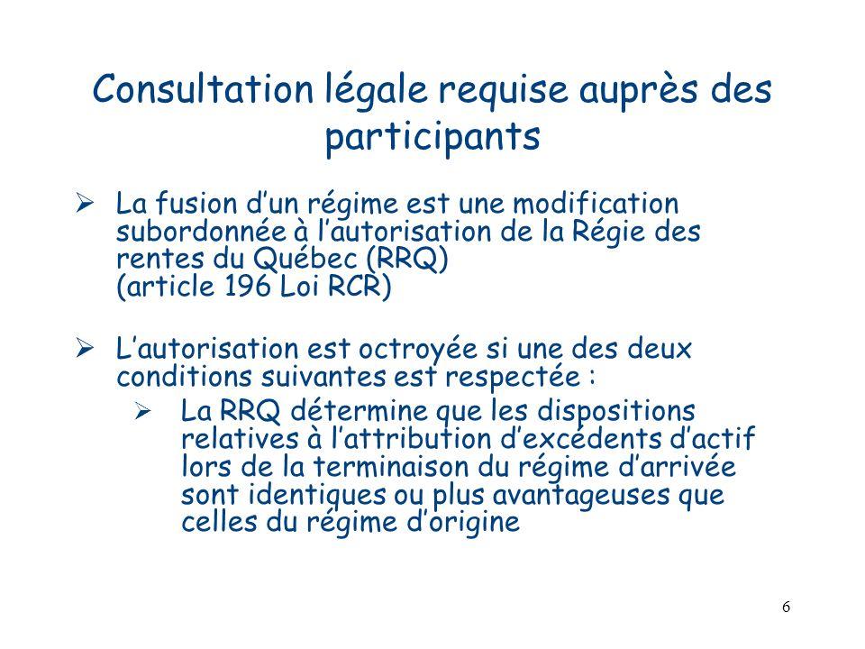 7 Consultation légale requise auprès des participants Lautorisation est octroyée si une des deux conditions suivantes est respectée – suite : Une consultation a été effectuée davance et moins de 30% des participants visés par la fusion se sont opposés à celle-ci