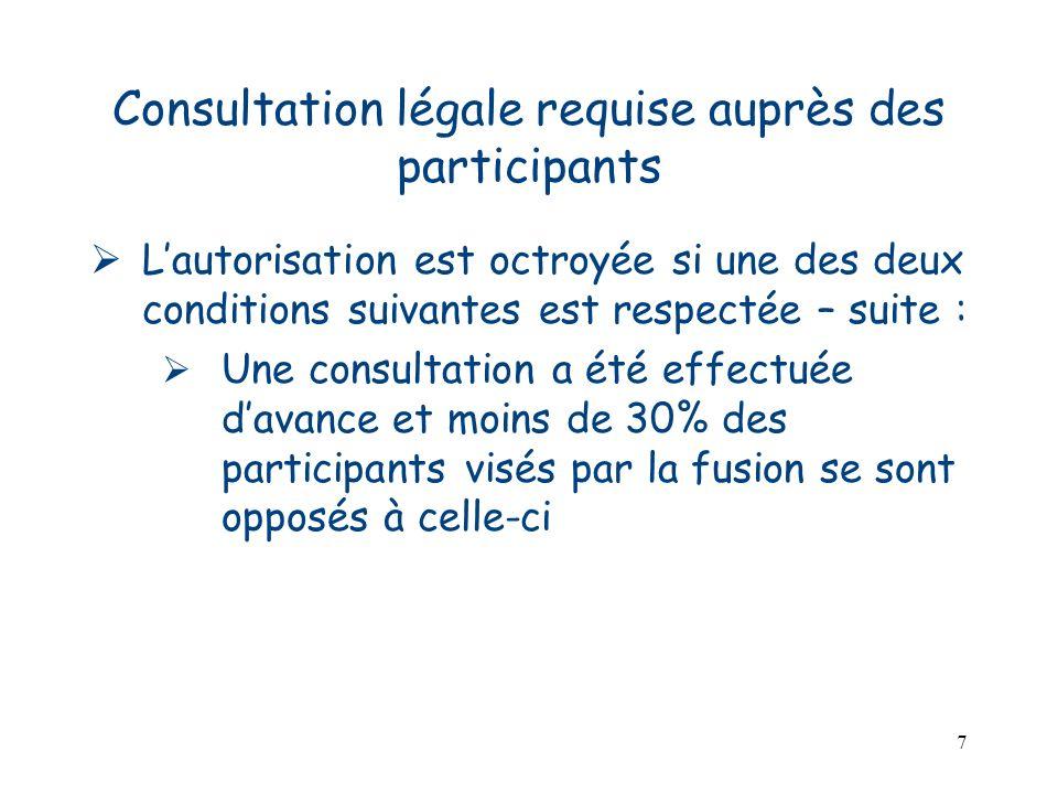 7 Consultation légale requise auprès des participants Lautorisation est octroyée si une des deux conditions suivantes est respectée – suite : Une cons