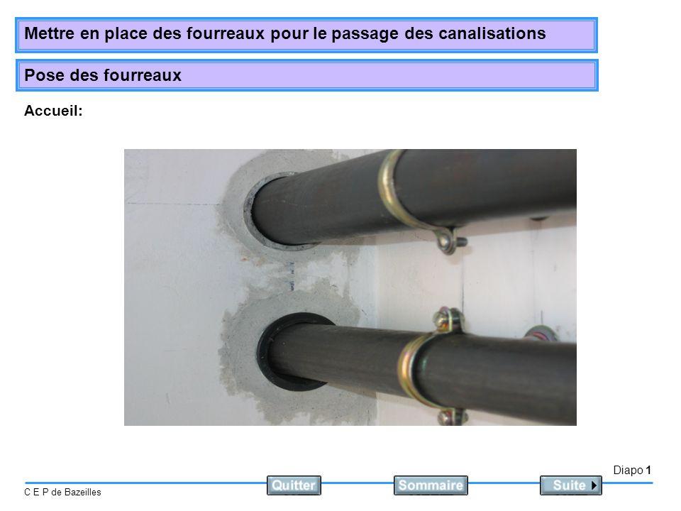 Diapo 1 C E P de Bazeilles Mettre en place des fourreaux pour le passage des canalisations Pose des fourreaux Accueil: