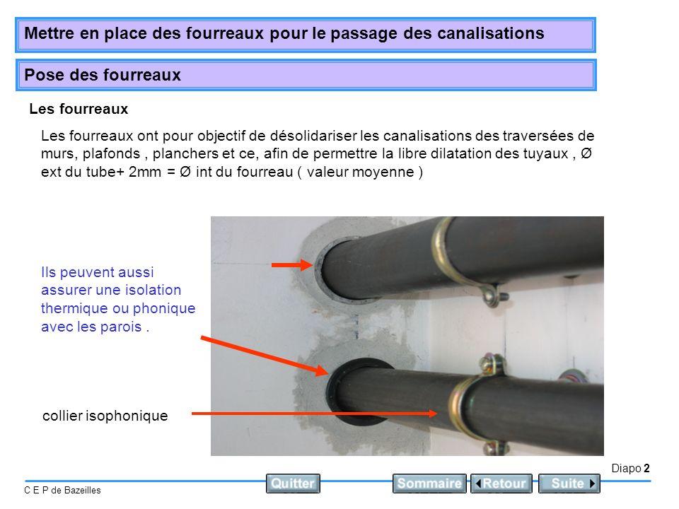 Diapo 2 C E P de Bazeilles Mettre en place des fourreaux pour le passage des canalisations Pose des fourreaux Les fourreaux collier isophonique Ils peuvent aussi assurer une isolation thermique ou phonique avec les parois.
