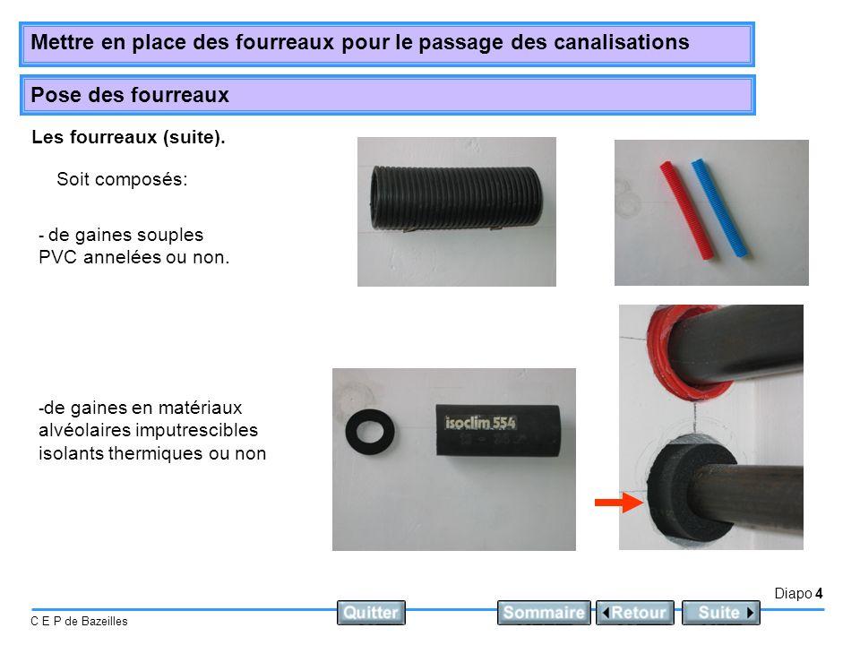 Diapo 4 C E P de Bazeilles Mettre en place des fourreaux pour le passage des canalisations Pose des fourreaux Les fourreaux (suite).