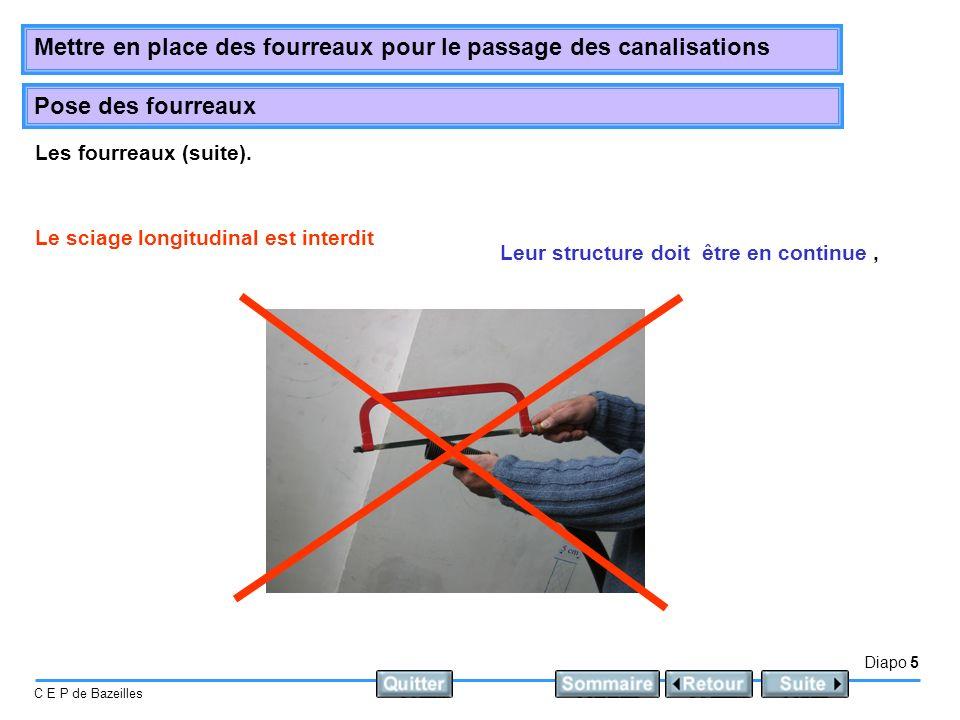 Diapo 5 C E P de Bazeilles Mettre en place des fourreaux pour le passage des canalisations Pose des fourreaux Le sciage longitudinal est interdit Les fourreaux (suite).