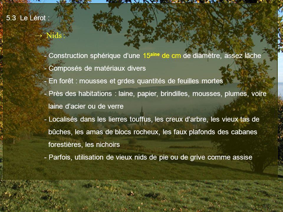 5.3 Le Lérot : Nids : - Construction sphérique dune 15 aine de cm de diamètre, assez lâche - Composés de matériaux divers - En forêt : mousses et grde