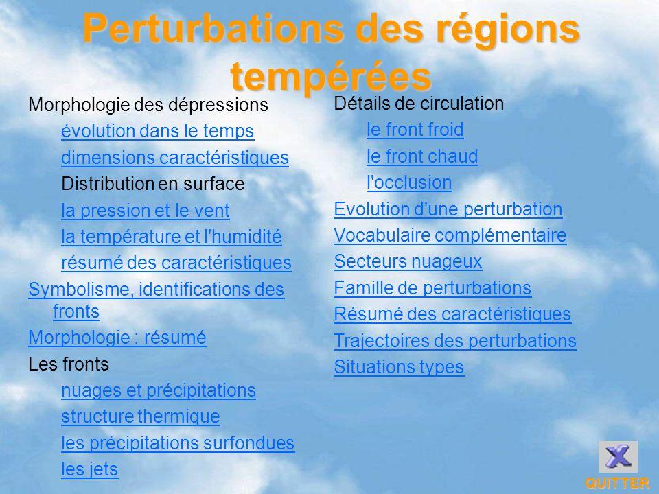 Perturbations des régions tempérées Morphologie des dépressions évolution dans le temps dimensions caractéristiques Distribution en surface la pressio