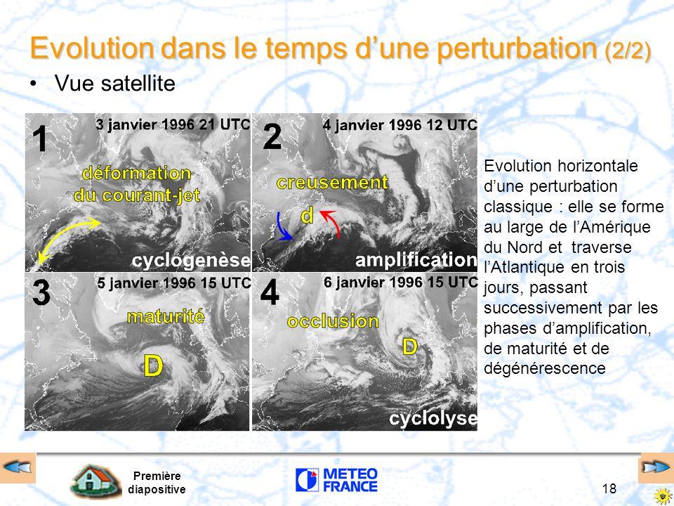 Première diapositive 18 Evolution dans le temps dune perturbation (2/2) Vue satellite Evolution horizontale dune perturbation classique : elle se form