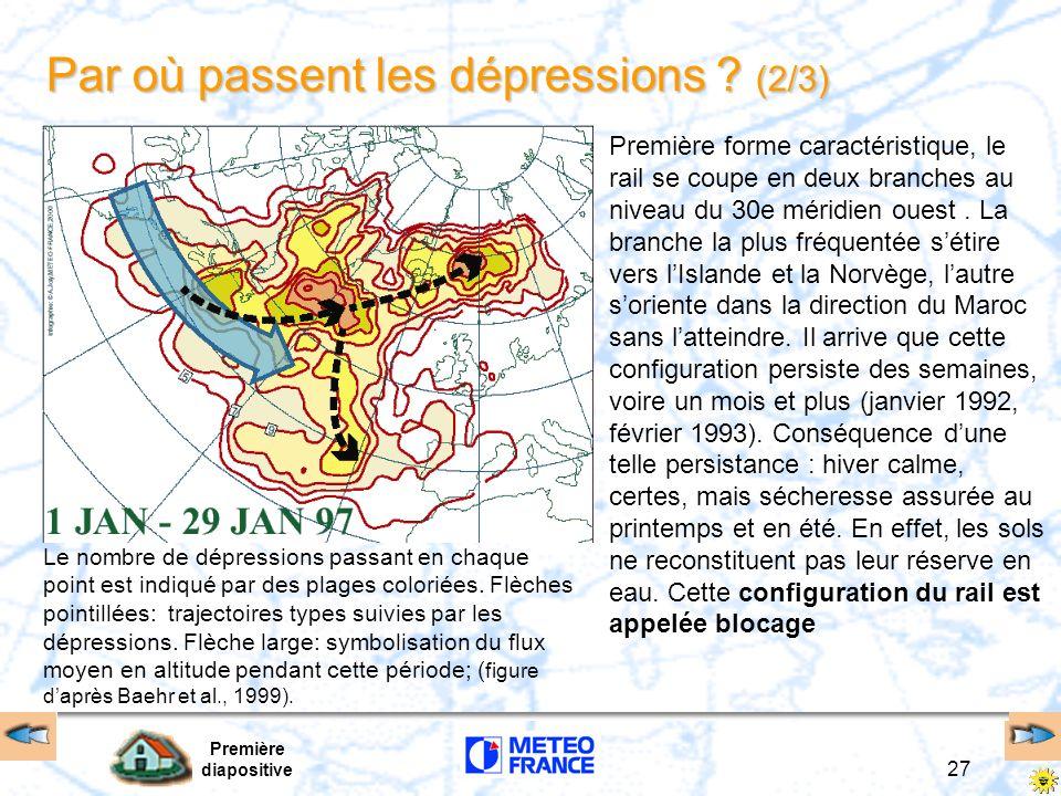 Première diapositive 27 Par où passent les dépressions ? (2/3) Première forme caractéristique, le rail se coupe en deux branches au niveau du 30e méri