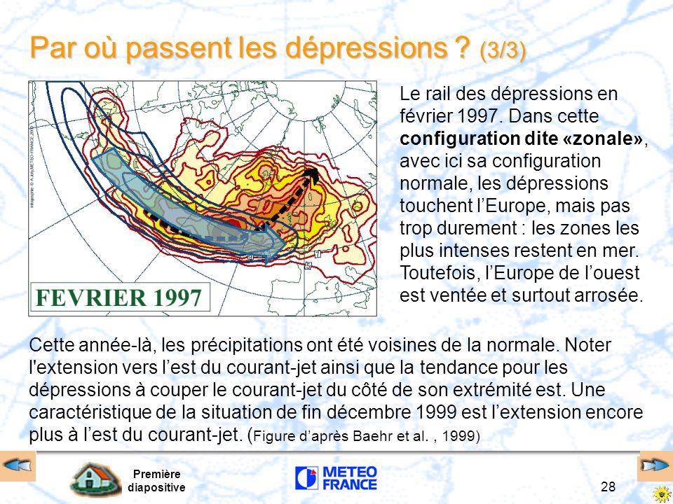 Première diapositive 28 Par où passent les dépressions ? (3/3) Cette année-là, les précipitations ont été voisines de la normale. Noter l'extension ve