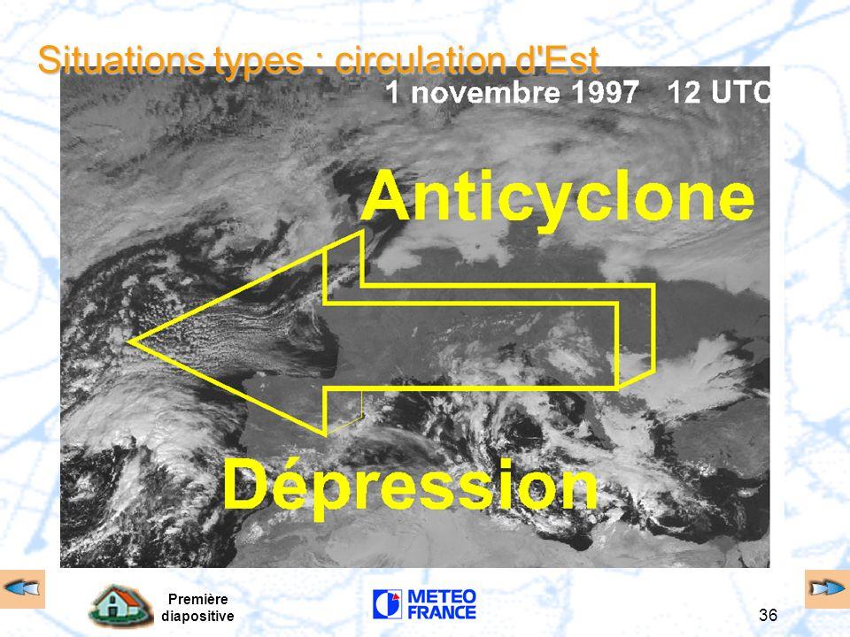 Première diapositive 36 Situations types : circulation d'Est