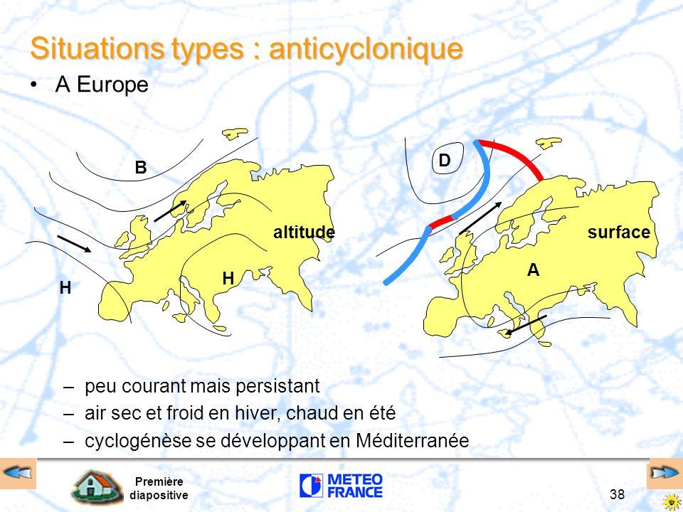 Première diapositive 38 B H altitude H surface A D Situations types : anticyclonique A Europe –peu courant mais persistant –air sec et froid en hiver,