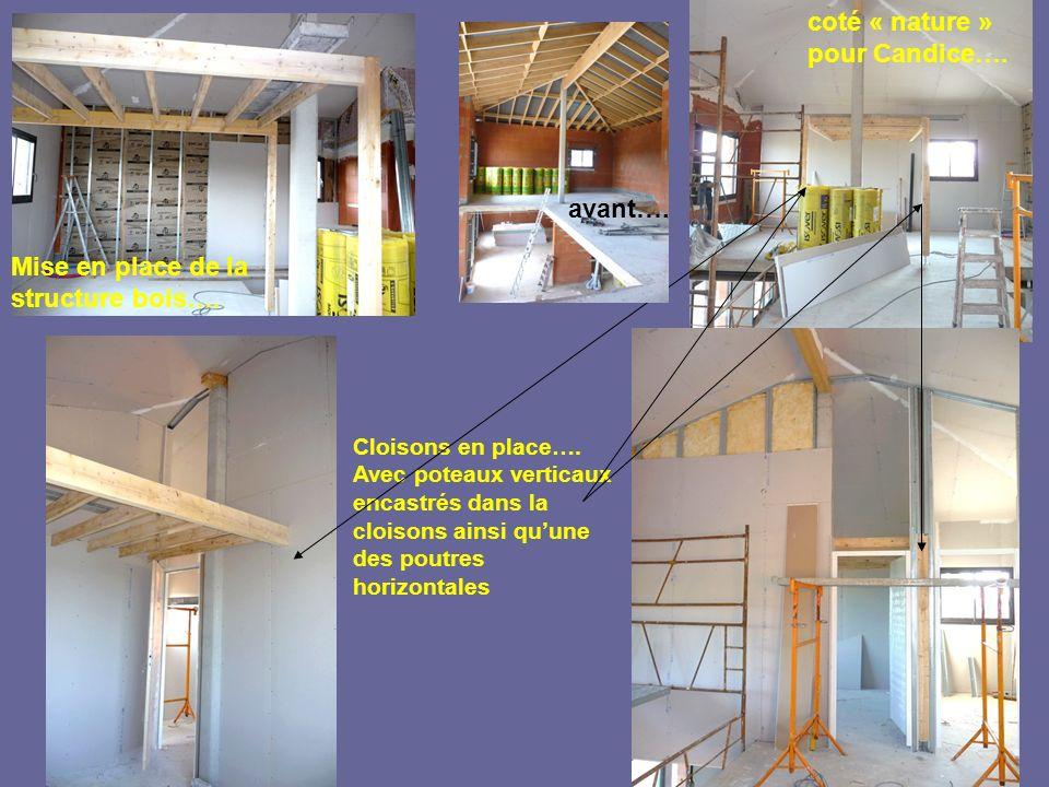 Mise en place de la structure bois…. Cloisons en place…. Avec poteaux verticaux encastrés dans la cloisons ainsi quune des poutres horizontales coté «