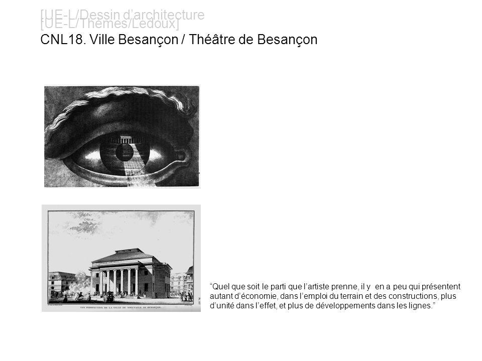 [UE-L/Dessin darchitecture [UE-L/Thèmes/Ledoux] CNL18. Ville Besançon / Théâtre de Besançon Quel que soit le parti que lartiste prenne, il y en a peu