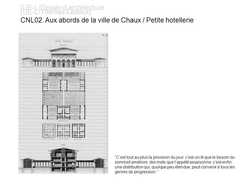 [UE-L/Dessin darchitecture [UE-L/Thèmes/Ledoux] CNL02. Aux abords de la ville de Chaux / Petite hotellerie Cest tout au plus la provision du jour: ces