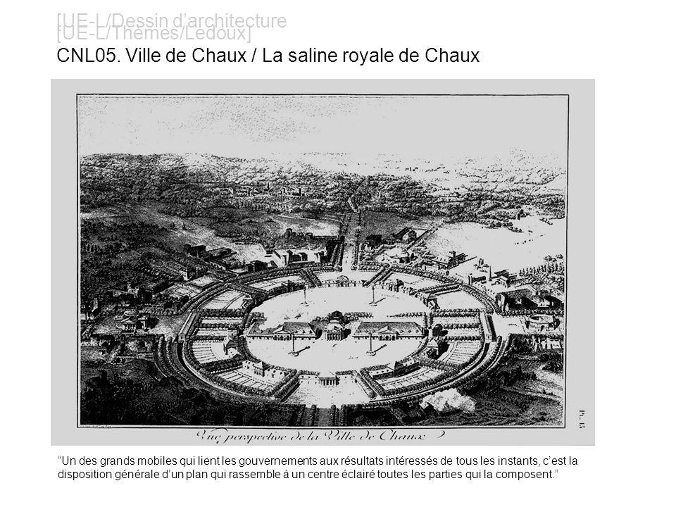 [UE-L/Dessin darchitecture [UE-L/Thèmes/Ledoux] CNL05. Ville de Chaux / La saline royale de Chaux Un des grands mobiles qui lient les gouvernements au