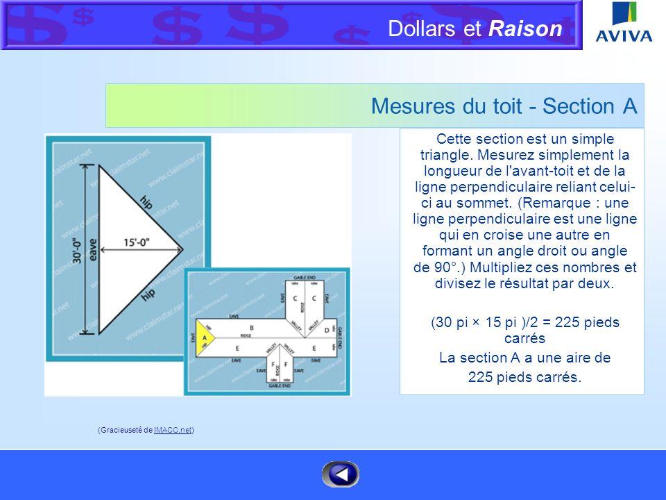 Dollars et Raison Menu Mesures d'un toit L'image ci-contre est une vue aérienne d'un toit constitué d'un arêtier et de pignons. Nous vous recommandons