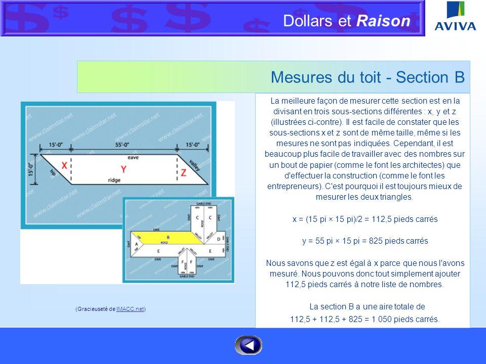 Dollars et Raison Menu Mesures du toit - Section A Cette section est un simple triangle. Mesurez simplement la longueur de l'avant-toit et de la ligne