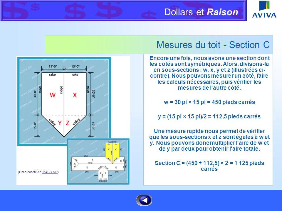 Dollars et Raison Menu Mesures du toit - Section B La meilleure façon de mesurer cette section est en la divisant en trois sous-sections différentes :