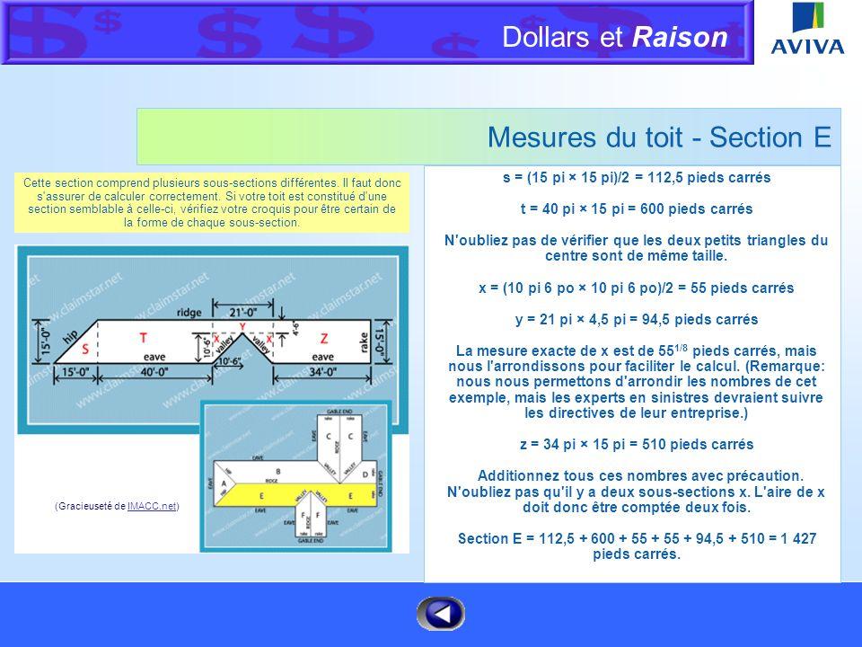 Dollars et Raison Menu Mesures du toit - Section D x = (15 pi × 15 pi)/2 = 112,5 pieds carrés y = 10 pi × 15 pi = 150 pieds carrés Section D = 112,5 +