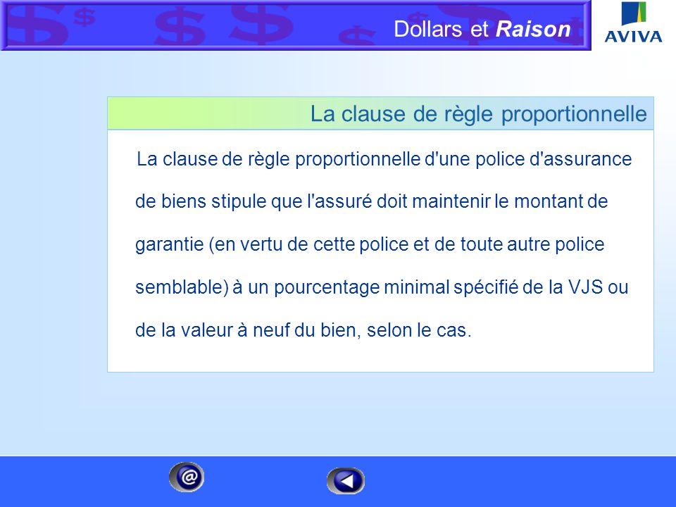 Dollars et Raison Menu Page 1 de 6 Cliquez sur une catégorie pour en savoir plus Calcul de la règle proportionnelle La règle proportionnelle de prime
