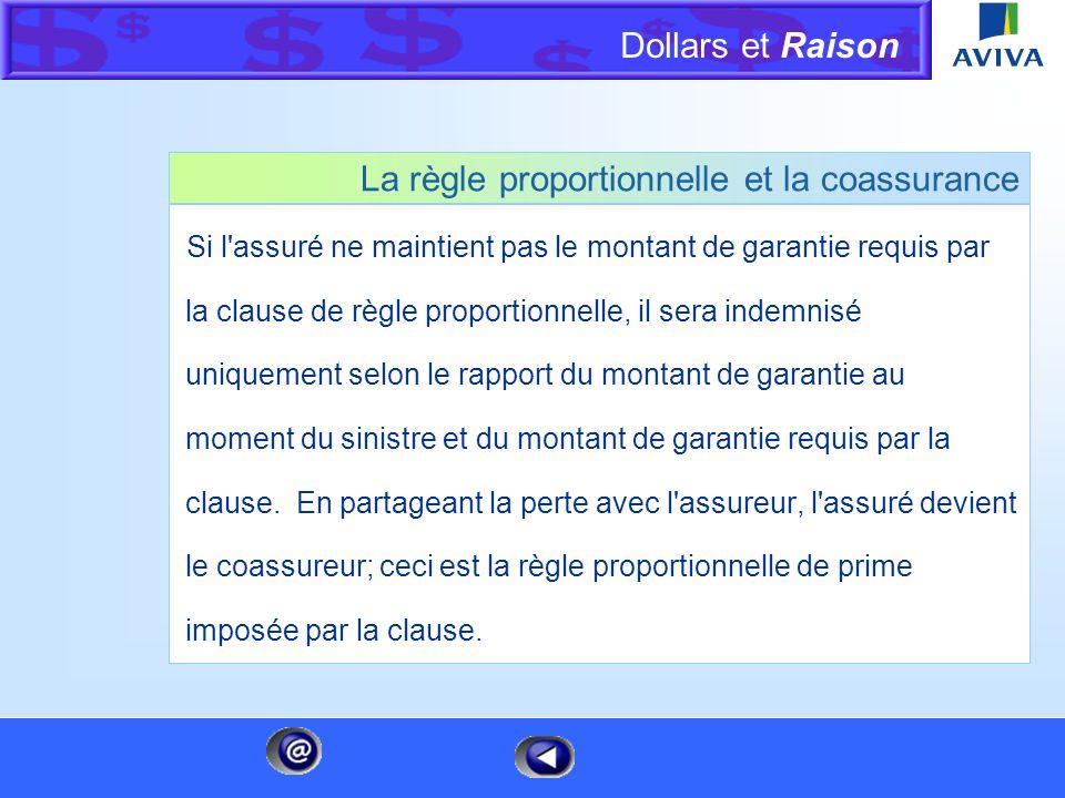 Dollars et Raison Menu La clause de règle proportionnelle La clause de règle proportionnelle d'une police d'assurance de biens stipule que l'assuré do