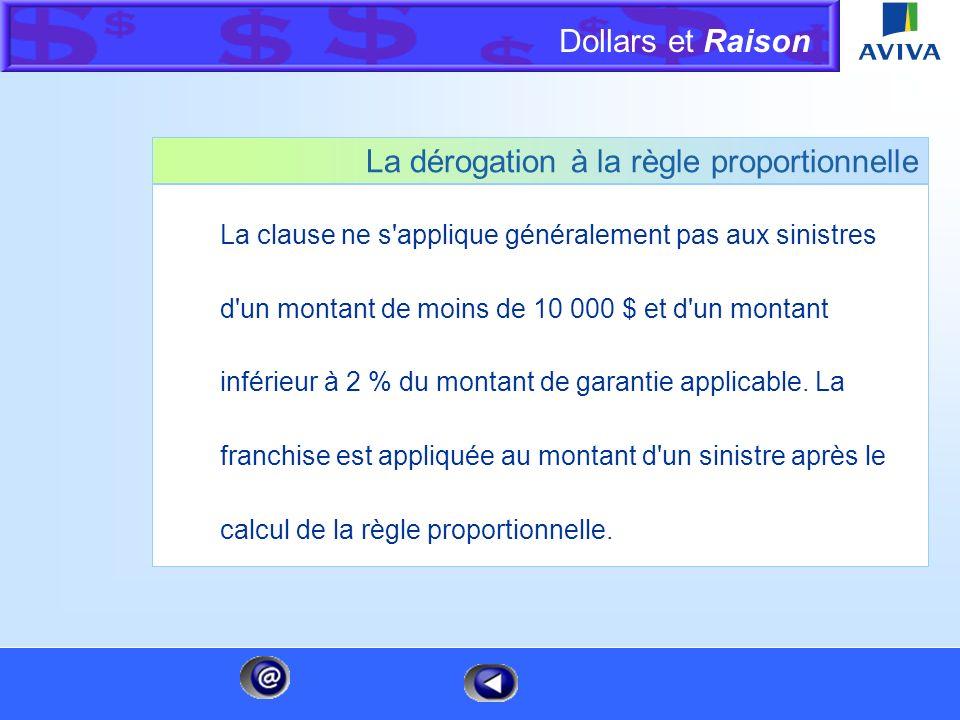 Dollars et Raison Menu La règle proportionnelle et la coassurance Si l'assuré ne maintient pas le montant de garantie requis par la clause de règle pr