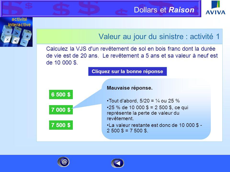 Dollars et Raison Menu Valeur au jour du sinistre : activité 1 Calculez la VJS d'un revêtement de sol en bois franc dont la durée de vie est de 20 ans