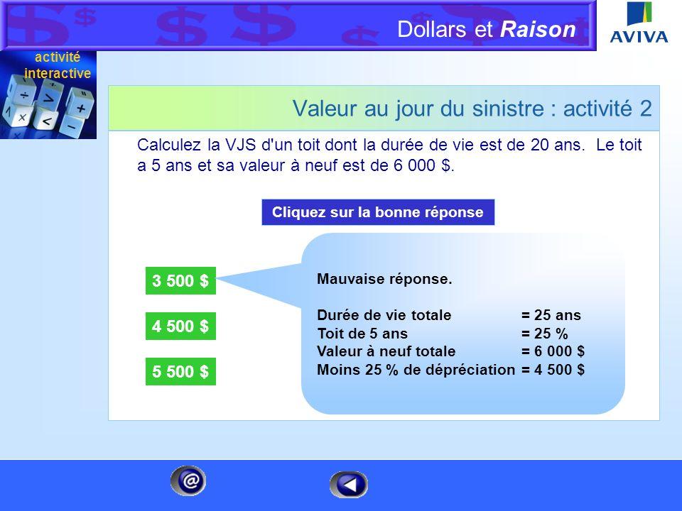 Dollars et Raison Menu Valeur au jour du sinistre : activité 2 Calculez la VJS d'un toit dont la durée de vie est de 20 ans. Le toit a 5 ans et sa val