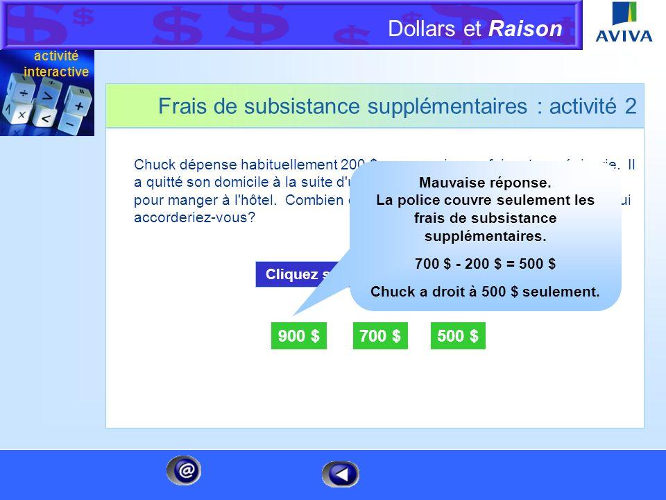 Dollars et Raison Menu Frais de subsistance supplémentaires : activité 2 Chuck dépense habituellement 200 $ par semaine en faisant son épicerie. Il a