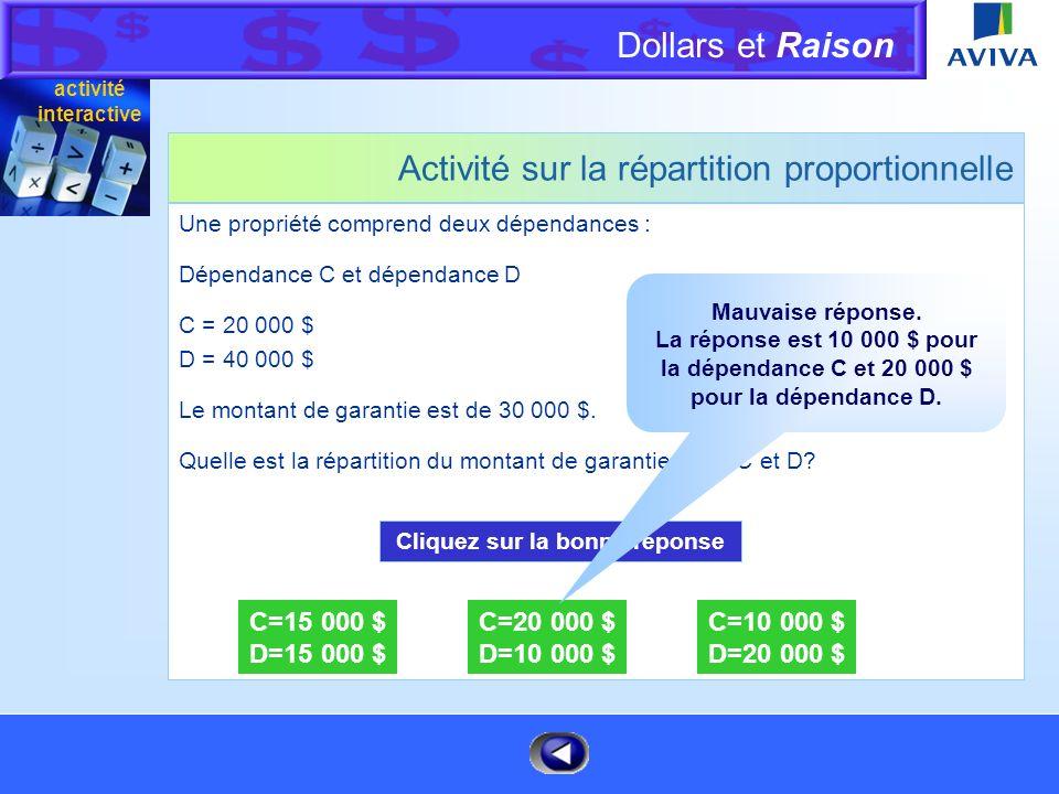 Dollars et Raison Menu Activité sur la répartition proportionnelle Une propriété comprend deux dépendances : Dépendance C et dépendance D C = 20 000 $