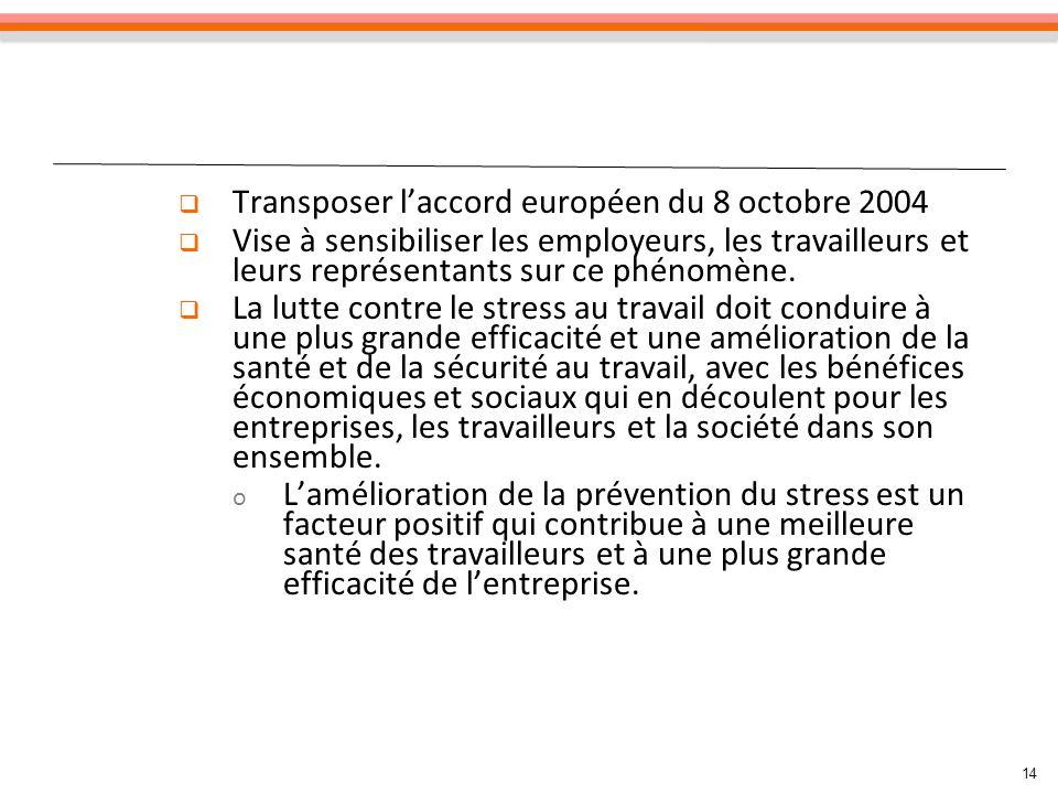14 Transposer laccord européen du 8 octobre 2004 Vise à sensibiliser les employeurs, les travailleurs et leurs représentants sur ce phénomène.