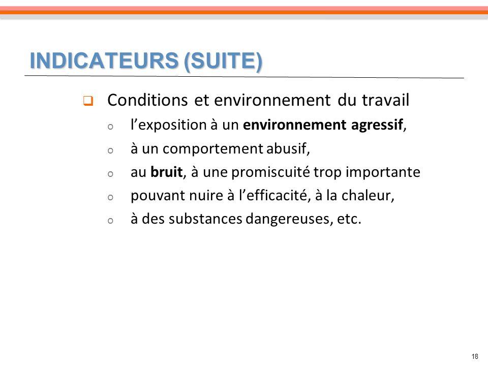 INDICATEURS (SUITE) 18 Conditions et environnement du travail o lexposition à un environnement agressif, o à un comportement abusif, o au bruit, à une