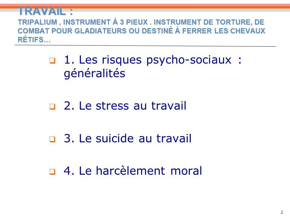 LE STRESS, UN RISQUE PSYCHOSOCIAL PARTICULIER 13 Une prise en compte récente par voie conventionnelle : ANI du 2 juillet 2008 o Négociation ouverte depuis oct.