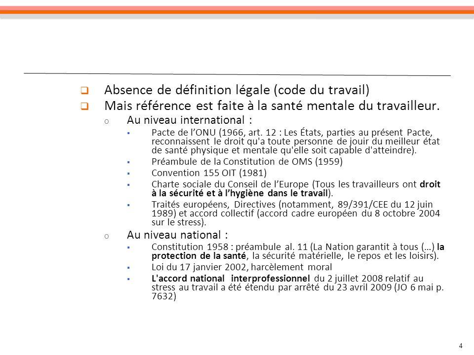 Absence de définition légale (code du travail) Mais référence est faite à la santé mentale du travailleur. o Au niveau international : Pacte de lONU (