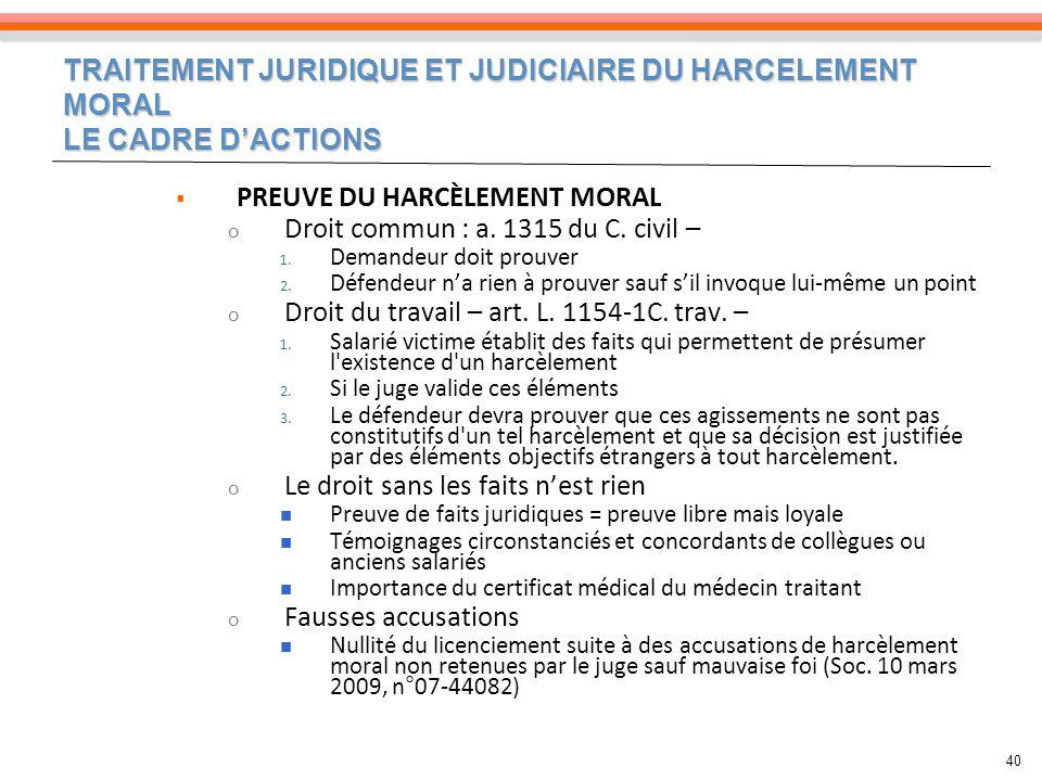 TRAITEMENT JURIDIQUE ET JUDICIAIRE DU HARCELEMENT MORAL LE CADRE DACTIONS 40 PREUVE DU HARCÈLEMENT MORAL o Droit commun : a. 1315 du C. civil – 1. Dem