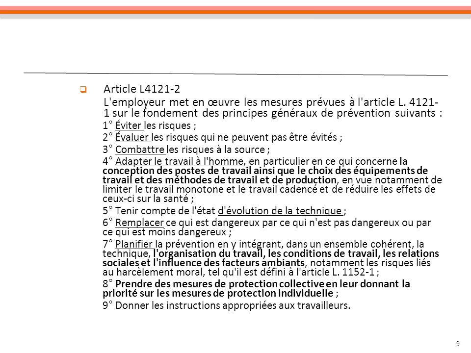 9 Article L4121-2 L'employeur met en œuvre les mesures prévues à l'article L. 4121- 1 sur le fondement des principes généraux de prévention suivants :