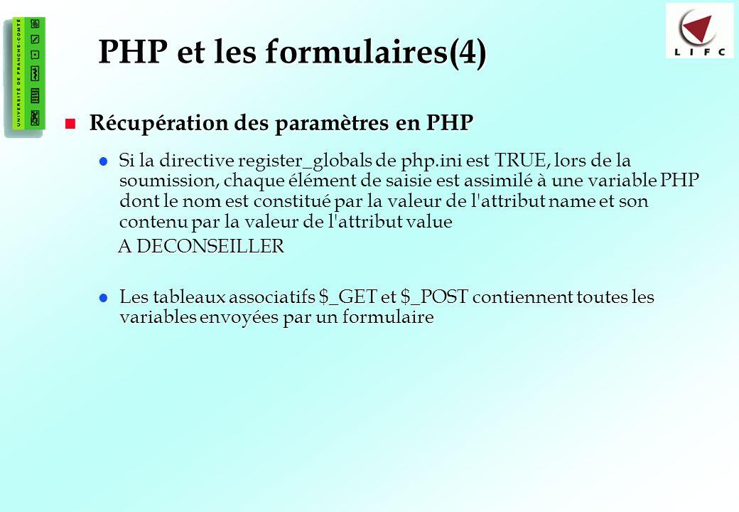 104 PHP et les formulaires(4) Récupération des paramètres en PHP Récupération des paramètres en PHP Si la directive register_globals de php.ini est TRUE, lors de la soumission, chaque élément de saisie est assimilé à une variable PHP dont le nom est constitué par la valeur de l attribut name et son contenu par la valeur de l attribut value A DECONSEILLER A DECONSEILLER Les tableaux associatifs $_GET et $_POST contiennent toutes les variables envoyées par un formulaire Les tableaux associatifs $_GET et $_POST contiennent toutes les variables envoyées par un formulaire