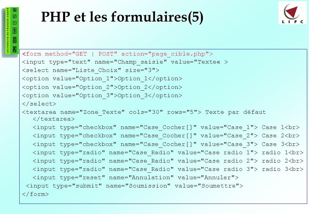 105 PHP et les formulaires(5) Option_1 Option_2 Option_3 Texte par défaut Case 1 Case 2 Case 3 radio 1 radio 2 radio 3