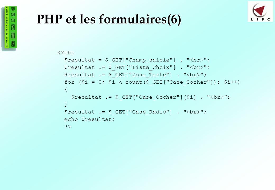 106 PHP et les formulaires(6) <?php $resultat = $_GET[