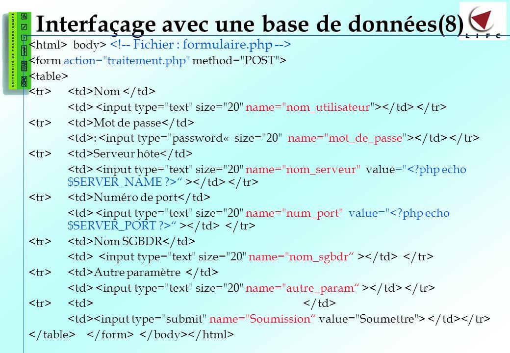 127 Interfaçage avec une base de données(8) body> Nom Mot de passe : Serveur hôte > Numéro de port > Nom SGBDR Autre paramètre
