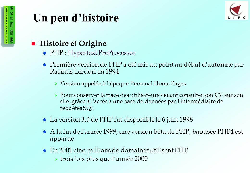 13 Un peu dhistoire Histoire et Origine PHP : Hypertext PreProcessor Première version de PHP a été mis au point au début d automne par Rasmus Lerdorf en 1994 Version appelée à l époque Personal Home Pages Pour conserver la trace des utilisateurs venant consulter son CV sur son site, grâce à l accès à une base de données par l intermédiaire de requêtes SQL La version 3.0 de PHP fut disponible le 6 juin 1998 A la fin de l année 1999, une version bêta de PHP, baptisée PHP4 est apparue En 2001 cinq millions de domaines utilisent PHP trois fois plus que lannée 2000