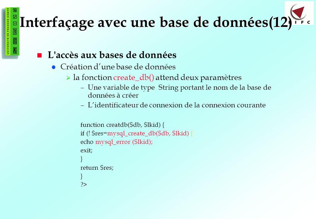 131 Interfaçage avec une base de données(12) L accès aux bases de données Création dune base de données la fonction create_db() attend deux paramètres –Une variable de type String portant le nom de la base de données à créer –Lidentificateur de connexion de la connexion courante function creatdb($db, $lkid) { if (.