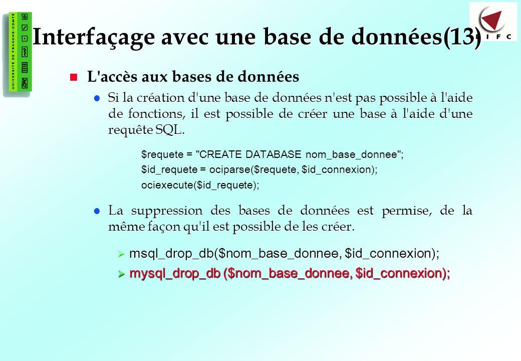 132 Interfaçage avec une base de données(13) L accès aux bases de données Si la création d une base de données n est pas possible à l aide de fonctions, il est possible de créer une base à l aide d une requête SQL.